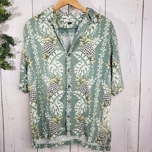 Tommy Bahama silk green floral pineapple button up